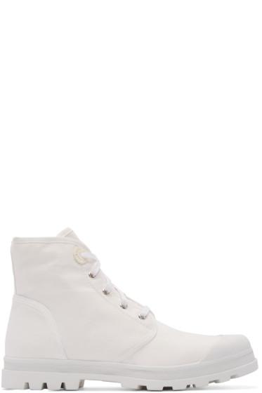 Diesel Black Gold - White Canvas Boots