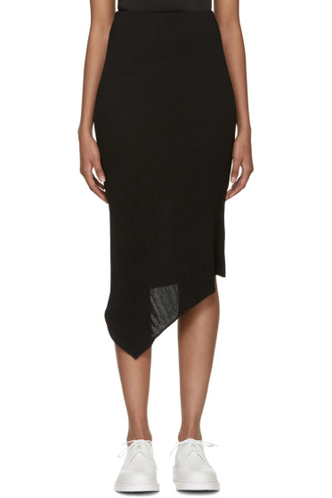 McQ Alexander Mcqueen - Black Pleated Asymmetrical Skirt