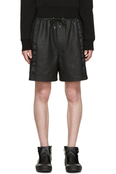 McQ Alexander Mcqueen - Black Leather Mix Shorts