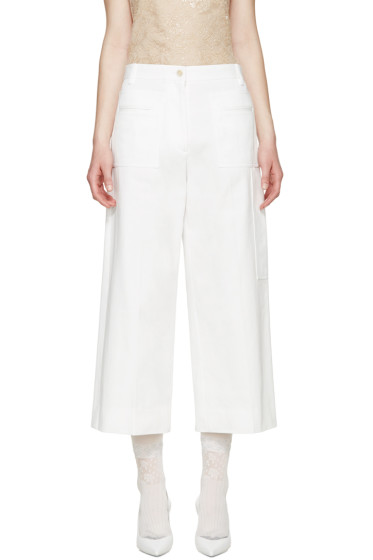 Maison Margiela - White Cropped Wide Leg Trousers