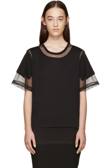 Maison Margiela - Black Panelled Mesh T-Shirt