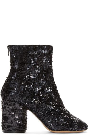 Maison Margiela - Black Sequin Sock Boots