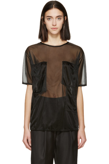 MM6 Maison Margiela - Black Sheer Pocket T-Shirt