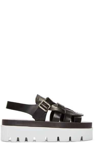 MM6 Maison Margiela - Black Leather Platform Sandals