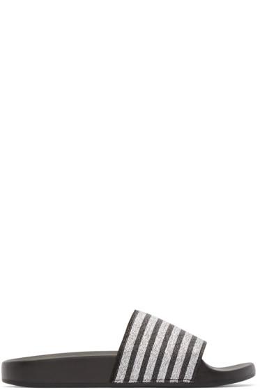 Marc Jacobs - Black & Silver Textile Sandals