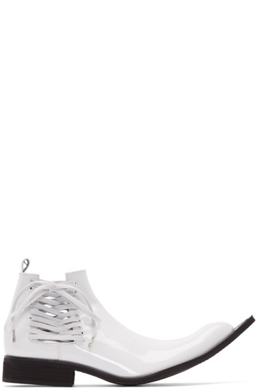 Comme des Garçons - White Patent Leather Pointed Boots