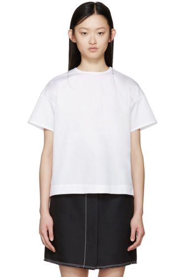 Jil Sander - White Poplin Open Back Blouse