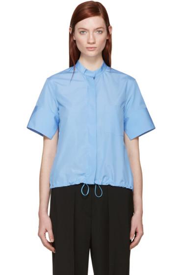 Jil Sander - Blue Drawstring Poplin Shirt
