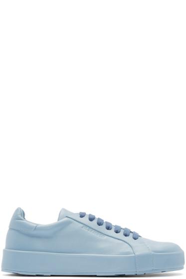 Jil Sander - Blue Leather Low-Top Sneakers