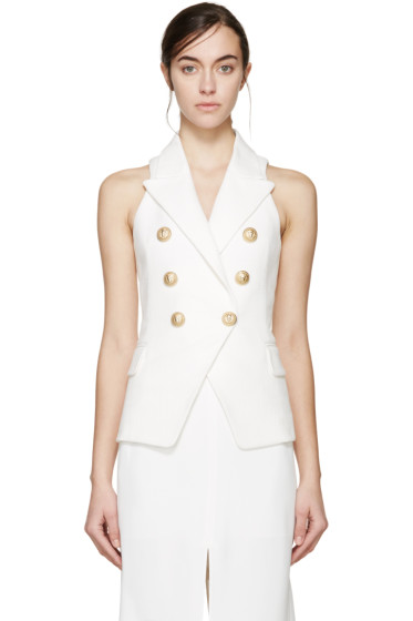 Balmain - White Double-Breasted Tweed Vest