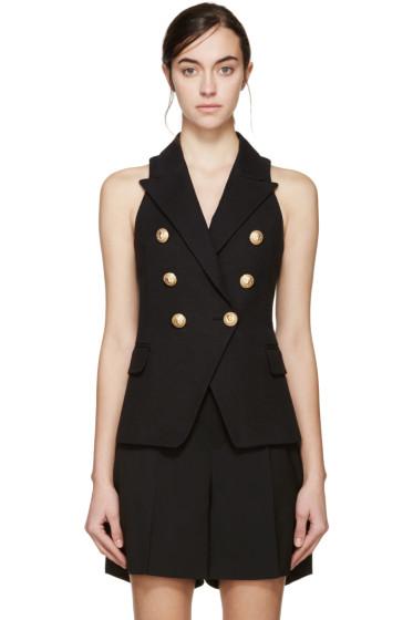 Balmain - Black Double-Breasted Tweed Vest