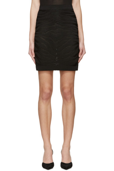 Balmain - Black Knit Zebra Stripe Skirt