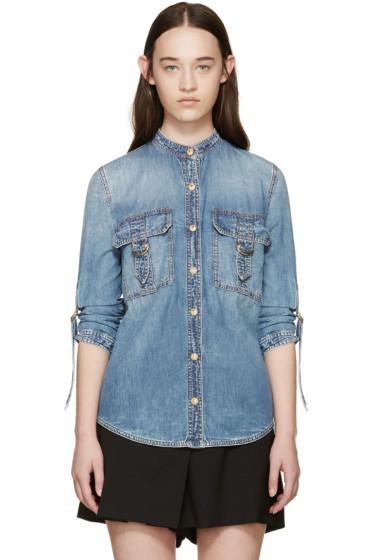 Balmain - Blue Denim Pocket Shirt