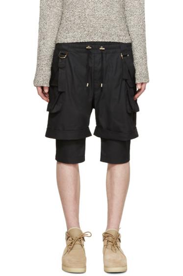 Balmain - Black Layered Cargo Shorts