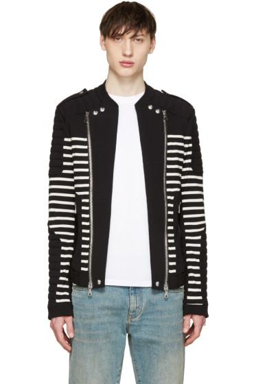 Balmain - Black & White Striped Biker Sweater