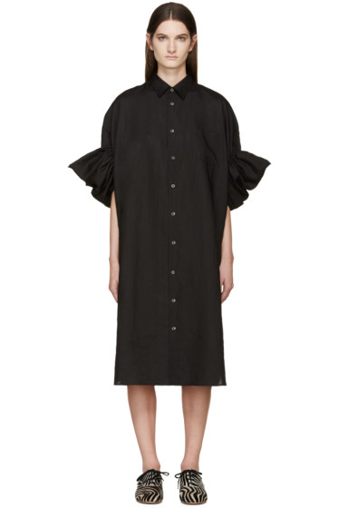Junya Watanabe - Black Ruffled Linen Shirt Dress