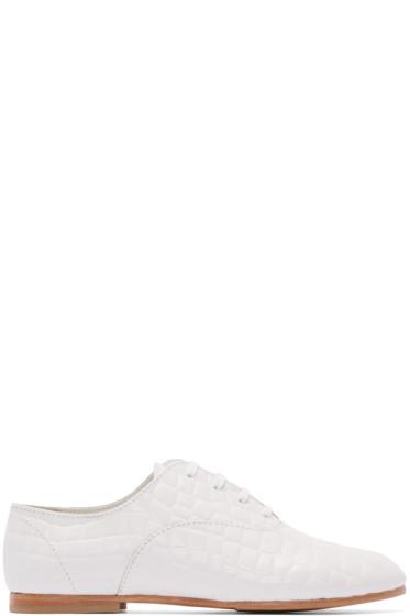 Junya Watanabe - White Croc-Embossed Oxfords