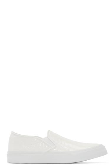 Junya Watanabe - White Croc-Embossed Slip-On Sneakers