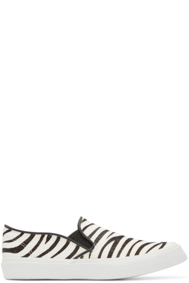 Junya Watanabe - Black & White Calf-Hair Zebra Slip-On Sneakers