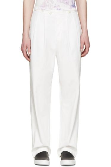 Junya Watanabe - White Pleated Gabardine Trousers