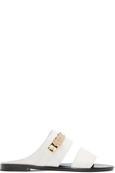 Lanvin - White Leather Mule Sandals