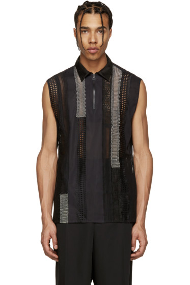 Lanvin - Black Sleeveless Patchwork Polo