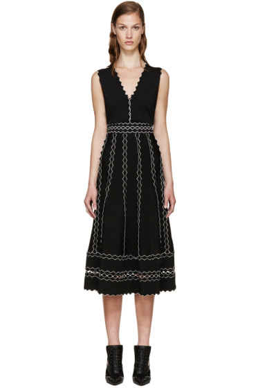 Alexander McQueen - Black Scalloped Trim Dress