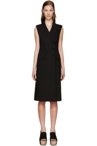 Alexander McQueen - Black Wool Gabardine Long Vest