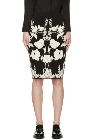 Alexander McQueen - Black & Ivory Knit Floral Skirt