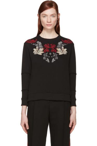Alexander McQueen - Black Embroidered Flower Pullover