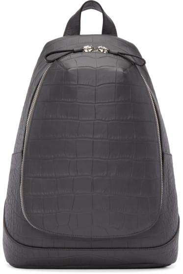 Alexander McQueen - Grey Croc-Embossed Leather Backpack