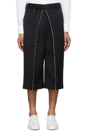 Alexander McQueen - Navy Wool Frayed Shorts