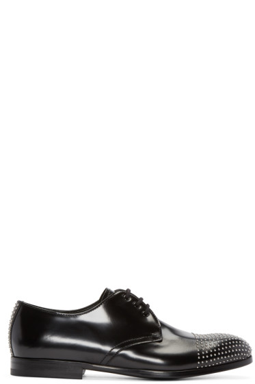 Alexander McQueen - Black Leather Studded Derbys