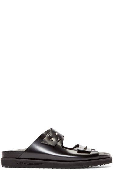 Alexander McQueen - Black Leather Studded Slip-On Sandals