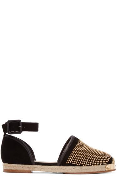 Giuseppe Zanotti - Black & Gold Studded Drillas Espadrilles