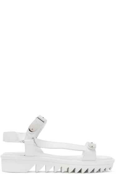 Giuseppe Zanotti - White & Silver Two Bar Sandals