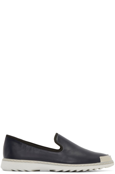 Giuseppe Zanotti - Navy Leather Loafers