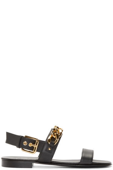 Giuseppe Zanotti - Black and Gold Chain Sandals