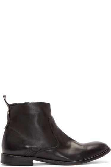 H by Hudson - Black Leather Kansai Ankle Boots