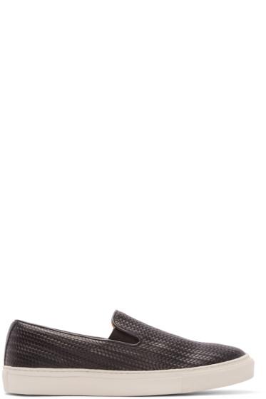 H by Hudson - Black Leather Hannuk 2 Slip-On Sneakers