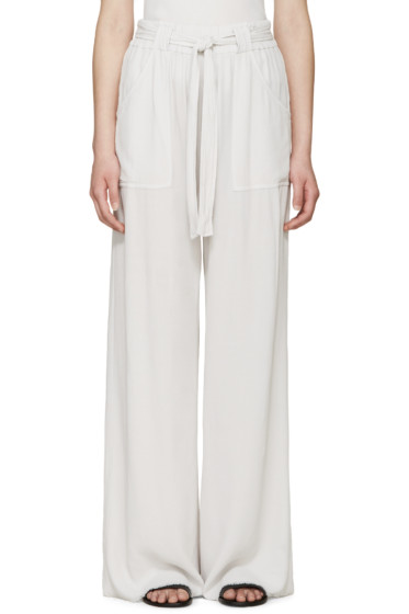 Raquel Allegra - Grey Crepe Belted Trousers