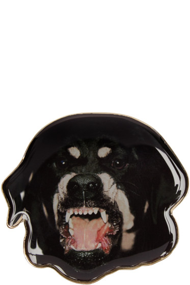 Givenchy - Black & Gold Large Rottweiler Brooch
