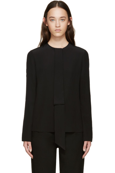 Givenchy - Black Silk Necktie Blouse