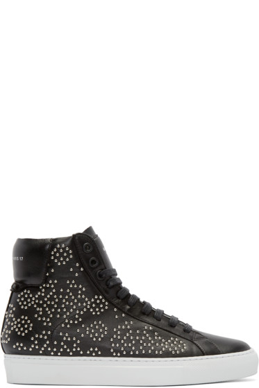 Givenchy - Black Leather Studded High-Top Sneakers