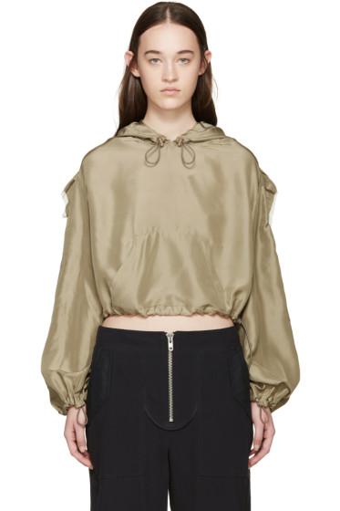 3.1 Phillip Lim - Khaki Silk Organza Hoodie