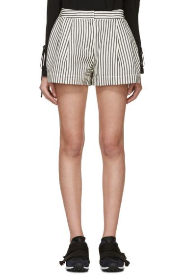 3.1 Phillip Lim - Ivory & Navy Striped Shorts