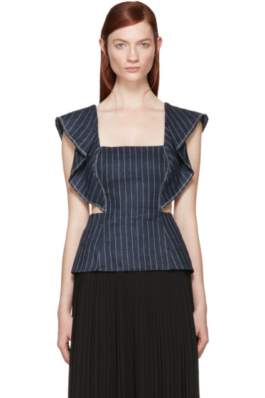 3.1 Phillip Lim - Navy Ruffled Pinstripe Tank Top