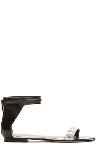 3.1 Phillip Lim - Silver & Black Leather Martini Sandals