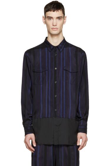 3.1 Phillip Lim - Black & Blue Striped Combo Shirt