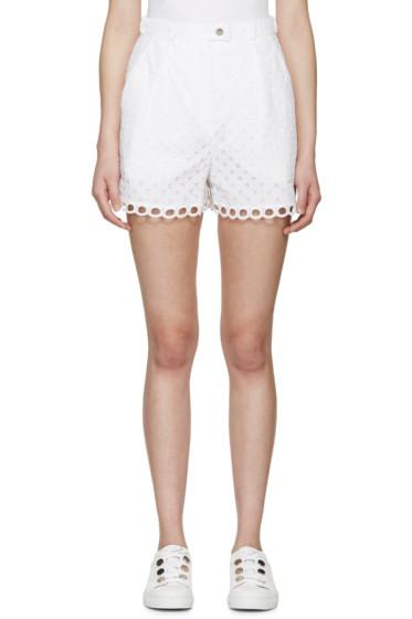 Carven - White Cotton Eyelet Shorts